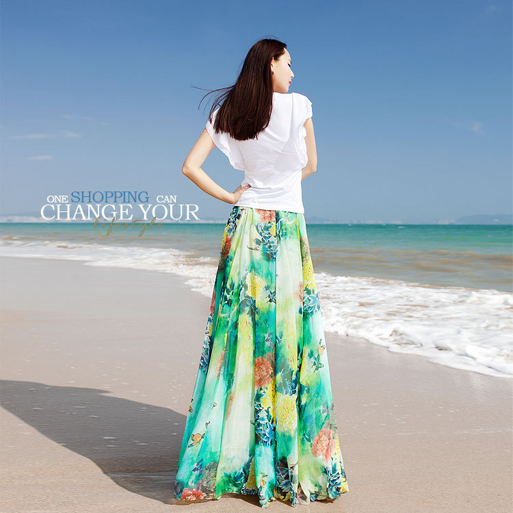 Twods 2015 new chiffon maxi skirts womens top grade 5xl plus szie slim floral print floor