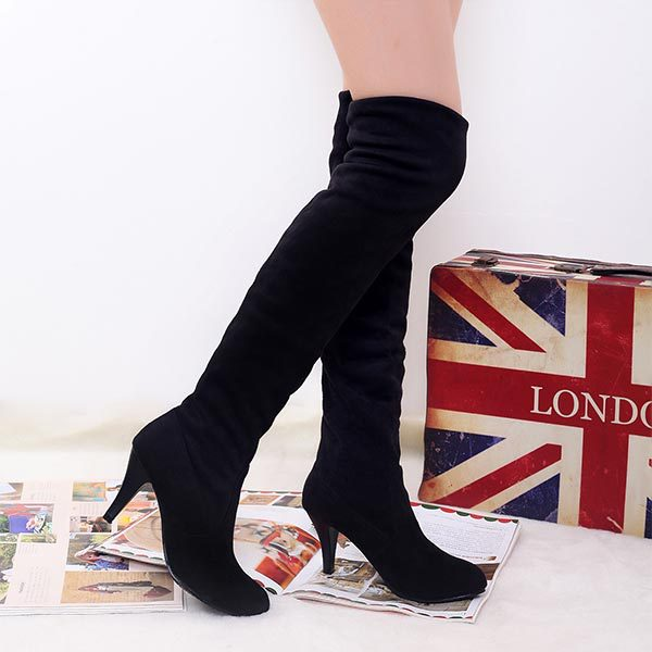 2014 autumn winter hottest sexy velvet matte long boots women suede slim fit over the knee boots female stretch tall boots C596(China (Mainland))