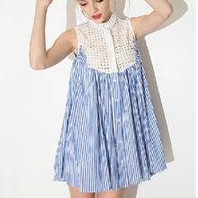 Fashion Ladies' Elegant Striped print lace hollow out Dress sexy vintage sleeveless casual slim brand dress QZ1943(China (Mainland))