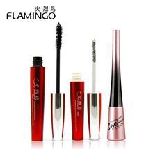 Free Shipping China top1 brand Flamingo Amazing lengthening grafting mascara couple plus waterproof eyleiner  for package set(China (Mainland))