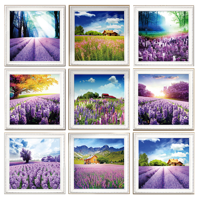 3d Needlework Diamond Painting Landscape Lavender Embroidery Mosaic Pictures Tree Beads Icon Puzzle Picture Rhinestone YU181(China (Mainland))