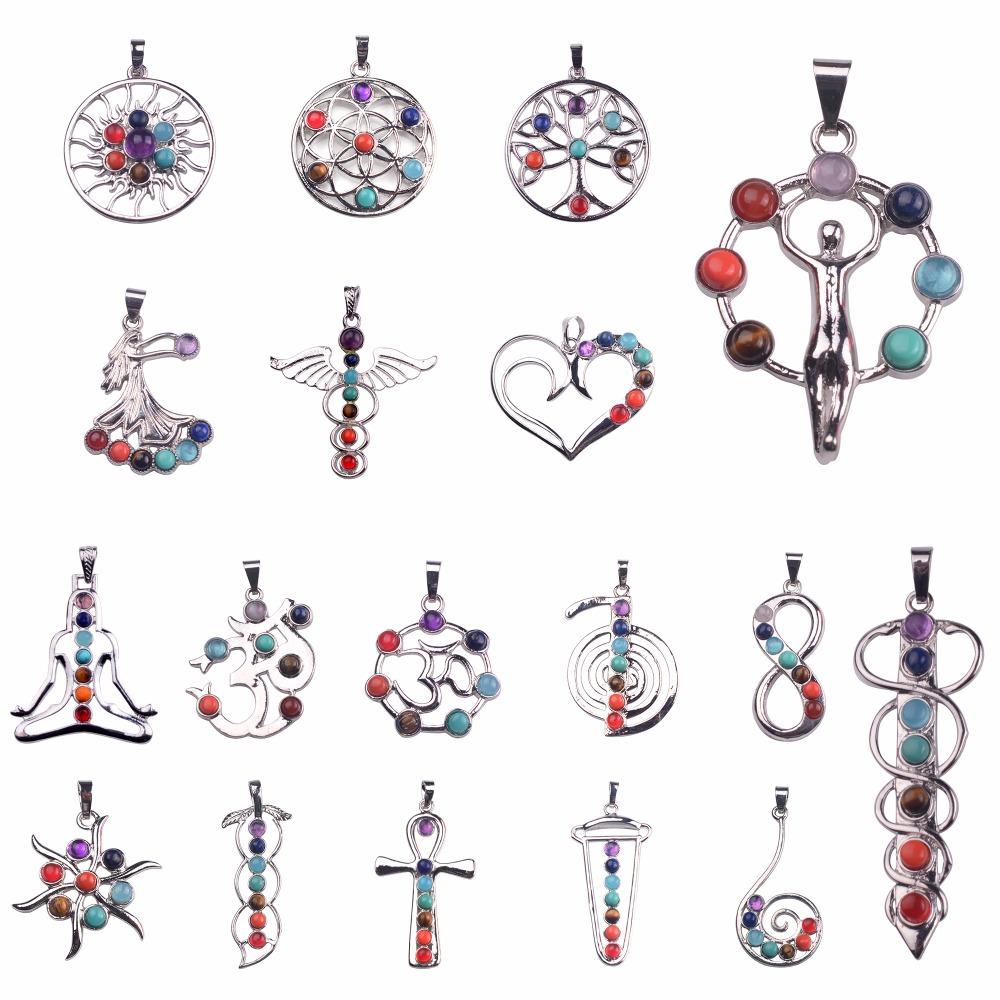 7 Chakra Tree Of Life Pendant Necklace Silver Rose Quartz Crystal Natural Stone Necklace Women Men Yoga Christmas Gift(China (Mainland))