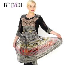 BFDADI 2016 Летом женские Dress Мода Красочные ретро шить плиссированные dress Женщины Элегантный колен Большой размер 7-2169(China (Mainland))