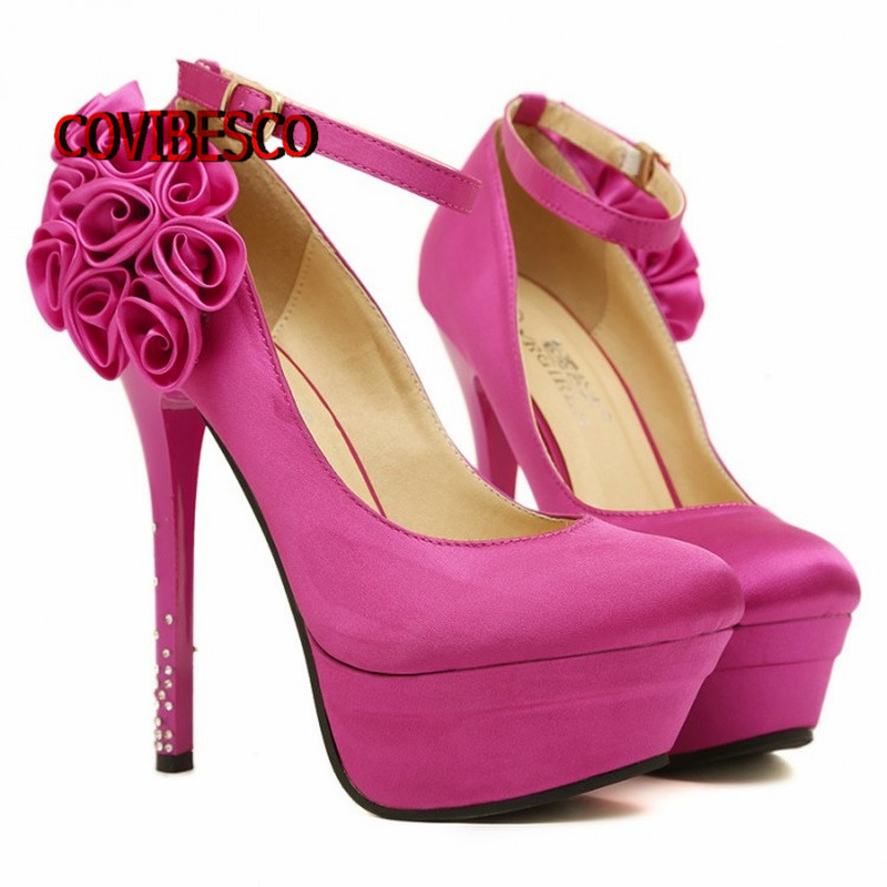 Fashion dress Women sweet flowers Pumps New High Heels Sexy platforms Shoes Woman wedding party pumps quality ankle strap shoes<br><br>Aliexpress