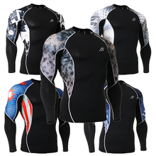 3D Mens Printing Long Sleeve Top Fitness Skin Shirts Running GYM MMA Compression Base Layer Outdoor Sports Fashion Shirts C2L