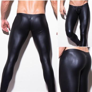 Сексуальный Bodywear мужчины длинная брюки плотные черный человек сделал кожа n2n ...