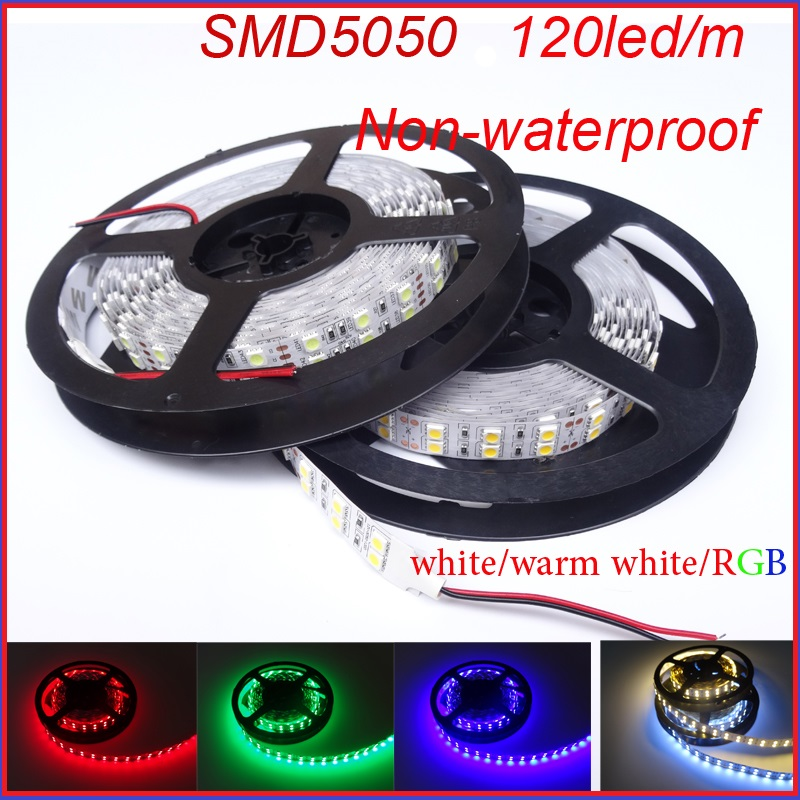 Two Row 5050 Led Strip Light Bar 120Leds/M Indoor Flexible Ribbon DC12v Non-waterproof Warm White White R/G/B Free Shipping<br><br>Aliexpress