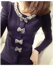 2015 New Korean Design Printed Fashion Loose Pullovers Thin Wool Tops Shirt Long Sleeve Knitted Sweater Women Casual Wear(China (Mainland))