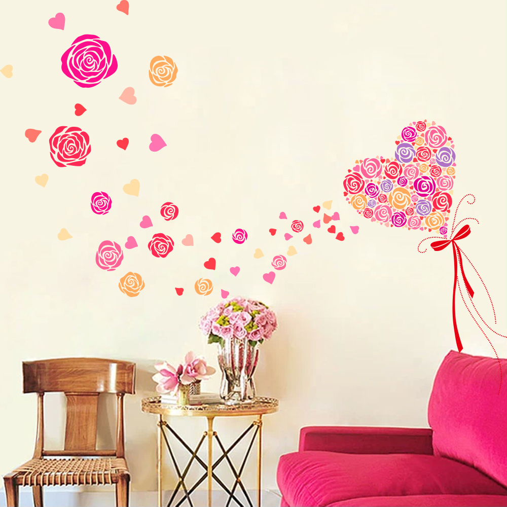 Pink Flower Wall Sticker Love Rose Balloon Pink Color Large PVC Stickers Adesivo Parede For Living Room Decor Home Accessories(China (Mainland))