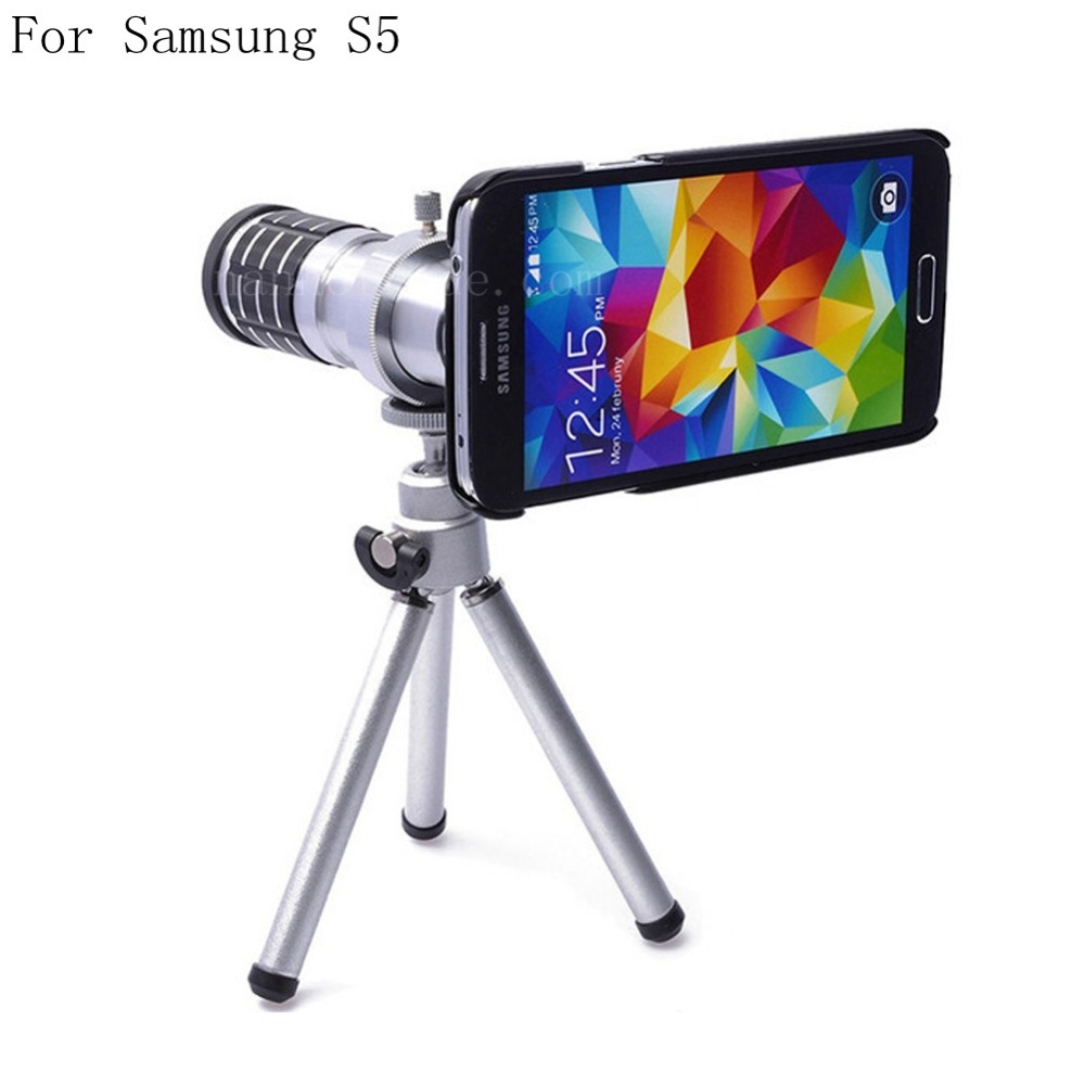 For Samsung Galaxy S5 12X Optical Zoom Telescope Camera Lens+Tripod +Back Case Cover i9600 Phone 12X Zoom Lens