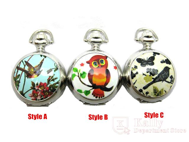 Hot selling trumpet white steel colored bird butterfly owl enamel pocket watch necklace wholesale(China (Mainland))