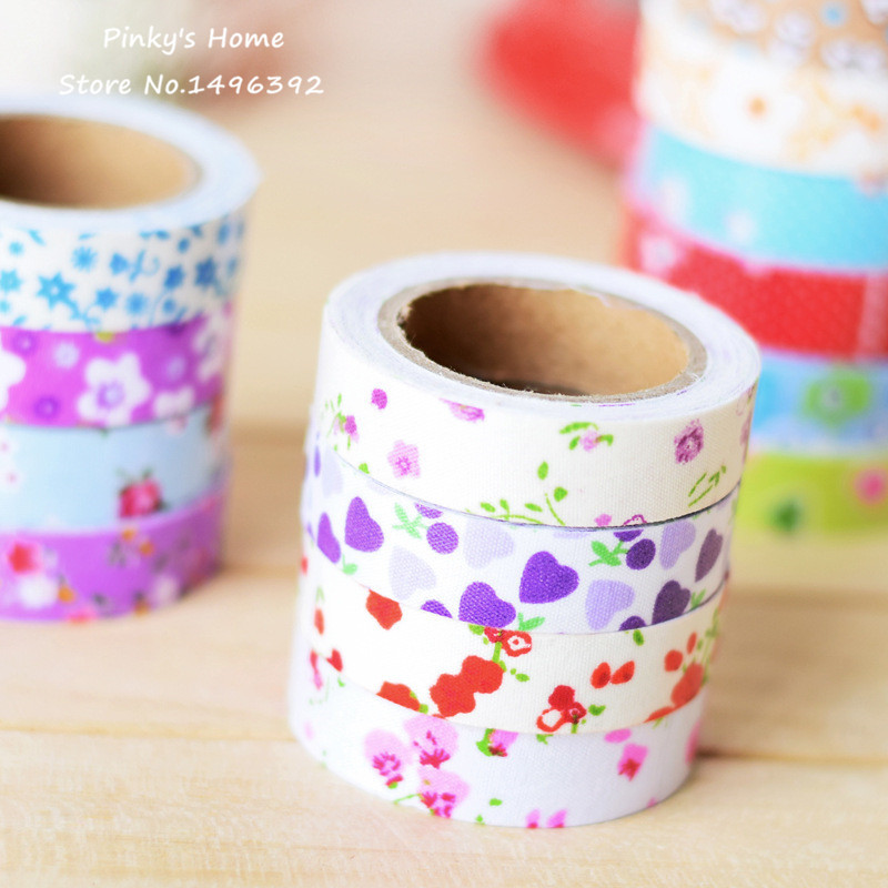 5pcs/lot Vintage Fabric Tape Pastoral Flower Cloth Tape DIY Scrapbooking Decorative Sticky Box Packed Adhesive Masking Tape(China (Mainland))