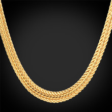 "New Men's Classic 18K Real Gold Plated Necklace Chains With 18K Stamp 6MM 55CM 22"" For Men Fashion Jewelry Wholesale MGC N370K"