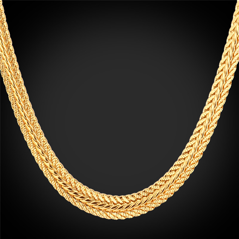 """Gold Chain For Men With """"18K"""" Stamp Real Gold Plated Necklaces Wholesale 2015 New 6MM 55CM 22'' Classic Chain Men Jewelry N435(China (Mainland))"""