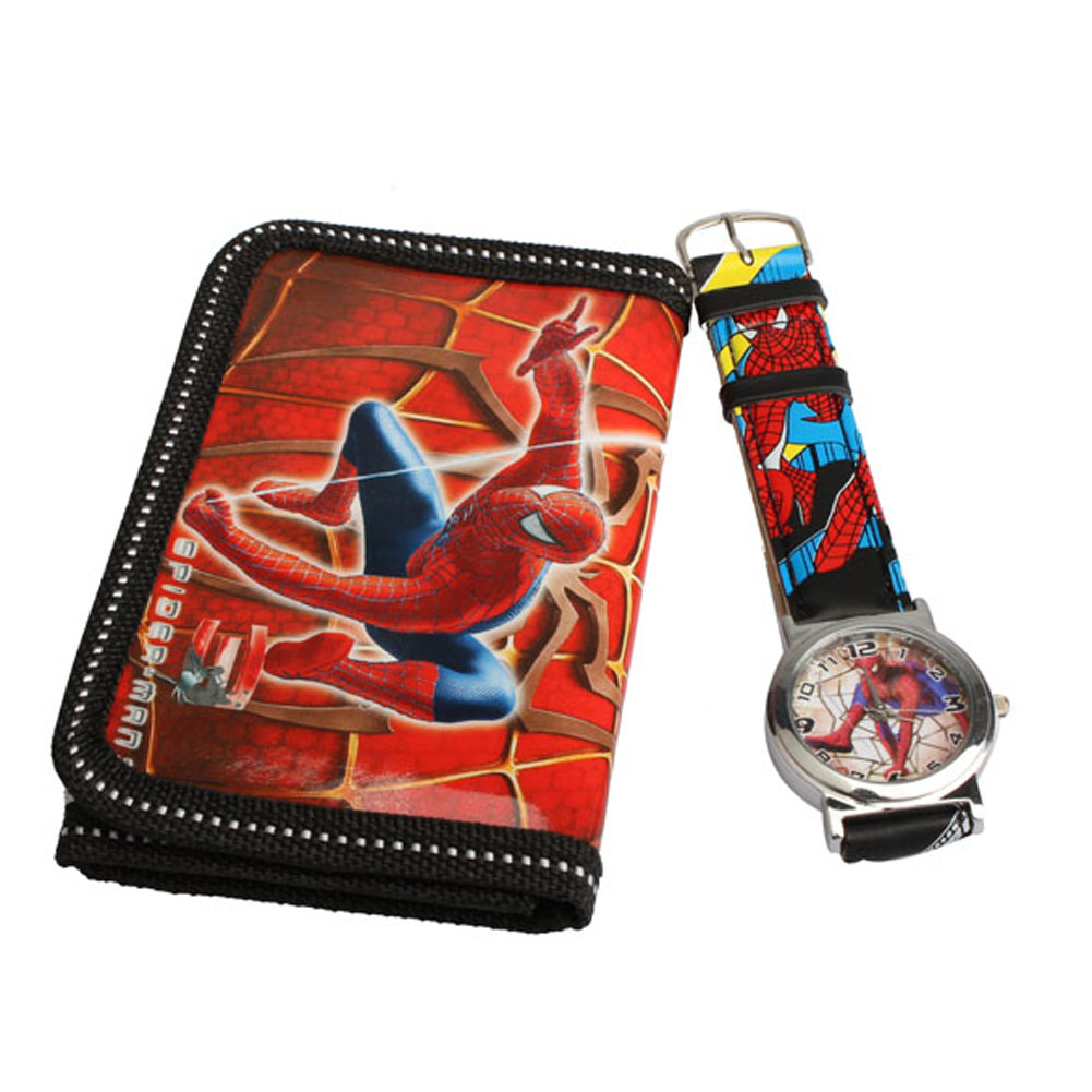 Гаджет  2015 Hot Cute Cartoon Watches Spider Man Series Quartz Watch With Purse Lovely Red For Kids None Часы