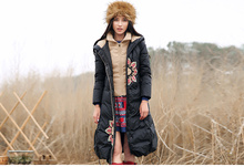 Free shipping European style super warm winter big size special design thick down jacket with specifical embroideried for women