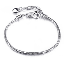 New Silver Plated Bead Charm Lobster Claw Clasp Snake Chain Basic Beads Fit Women Pandora Bracelet Bangle DIY Jewelry HKW0007(China (Mainland))