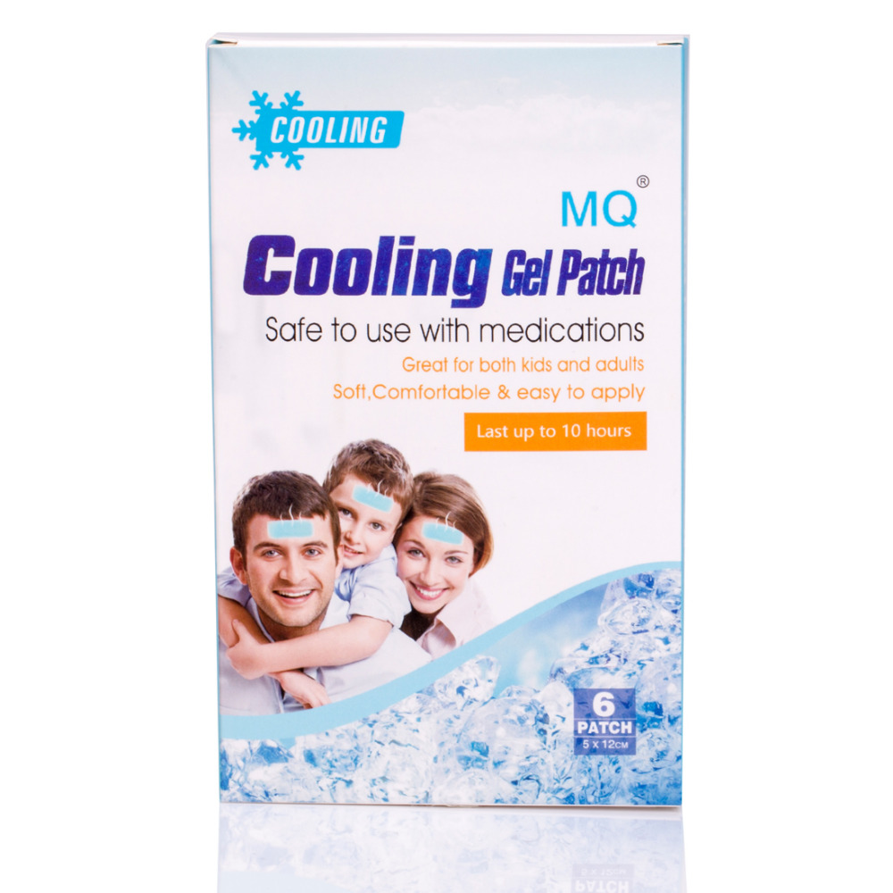 6 Patches/ Boxes MQ Fever Patch Ice Cooling Patch 5*12cm Cooling Gel Patch Ice Sheet Hydrogel Cool Fever Plaster(China (Mainland))