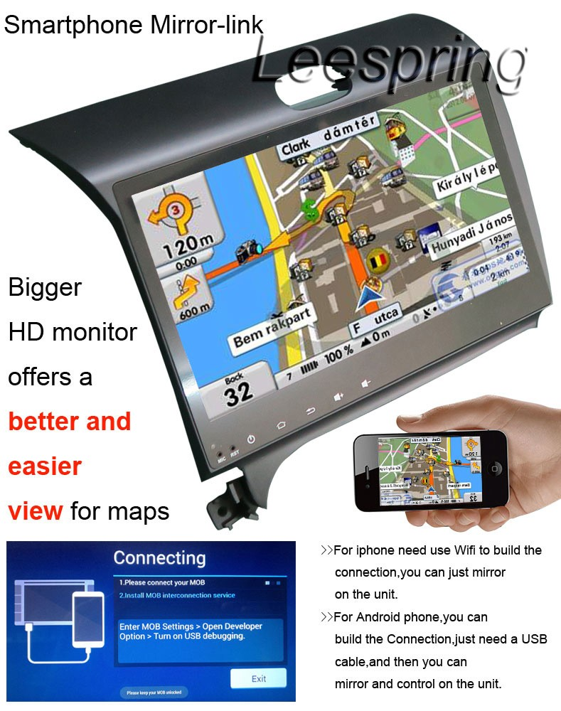 10.2″ Car NO-DVD Player Apply to KIA K3 Built-in GPS Navigation Bluetooth support WIFI Smartphone Mirror-link
