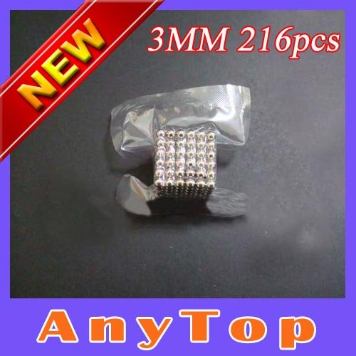 Free Shipping,20sets/lot Dia 3mmX216pcs New Bucky Balls Cube Nickel Color Neodymiums Novelty NEOCUBE with OPP vacuum packing(China (Mainland))
