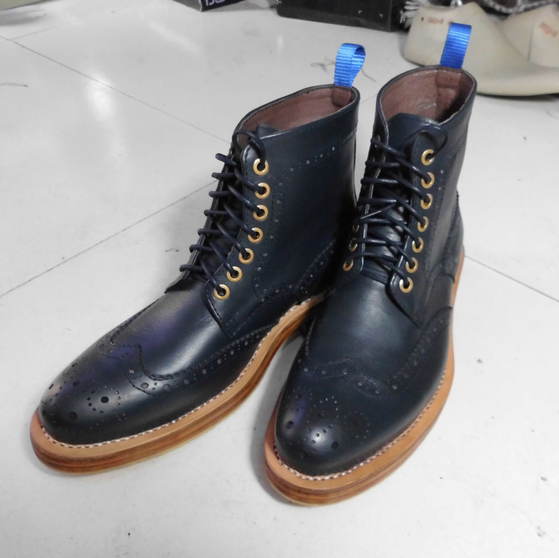 Goodyear hand-carved leather men handmade boots men Cowhide leather custom-made business boots male fashion boots blue color(China (Mainland))
