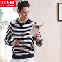 New Arrival Spring Cotton Pajamas Men Couple Pajamas Sets Pijamas Hombre Men 2015 Striped Casual Plus Size Man Nightwear MJ109(China (Mainland))