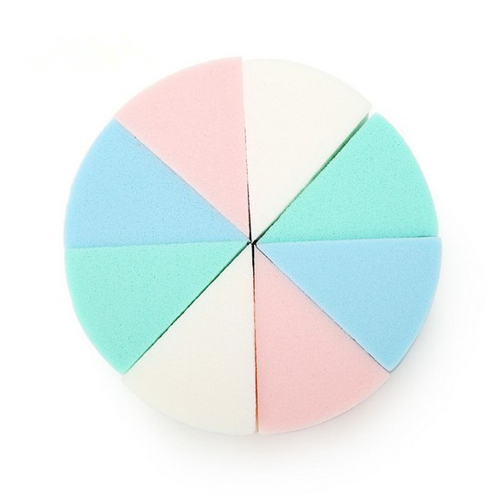 8Pc/Lot Triangle Shaped Candy Color Soft Magic Face Cleaning Pad Cosmetic Puff Cleansing Sponge Wash Face Makeup Tools(China (Mainland))