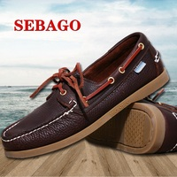 2015 New Fashion Men Sneakers Lace Up Round Toe Boat Male Casual Shoes Genuine Leather Men Sneakers England Style Shoes