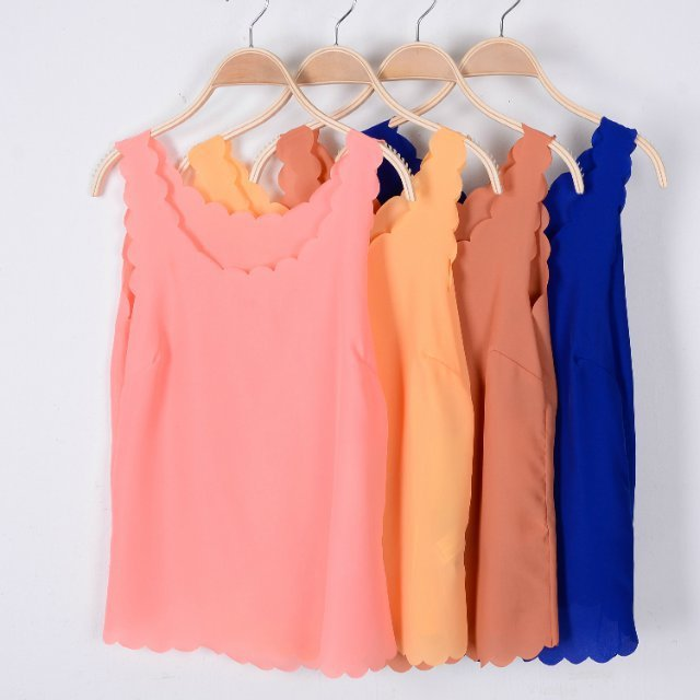 2015 Summer New Arrival Fashion Women Tank Tops Wave Edge Sleeveless Suspenders Vest Chiffon Shirt Candy Colors Camis 6 Colors(China (Mainland))