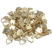 Wholesale universal Strong Golden 100pcs/set  D Rings Decor Picture Frames Hanger Hooks Hanging Triangle Screws High Quality(China (Mainland))