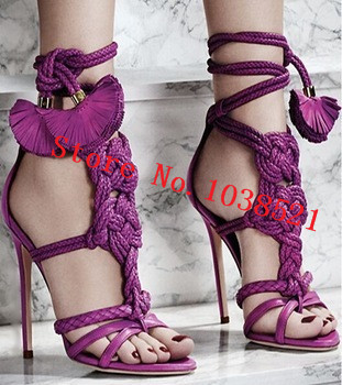 Knotted Braided Leather Ankle-Tie Sandals Lace Up Fashion Design Summer Style Women Sandals Boots High Heels Flowers Shoes Woman