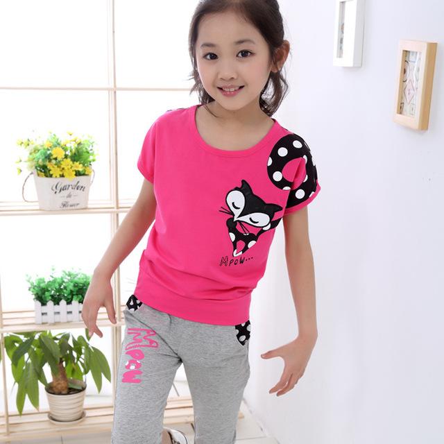 2016 новый летний стиль 2-14 лет и девушки случайные мультфильм одежда наборы дети ...