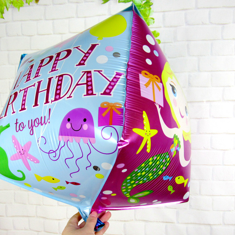 5PCS/LOT Happy Birthday Printed Cube Shape Foil Balloon,Flatable Promotion Mermaid Mylar Balloon for Birthday Celebrate(China (Mainland))