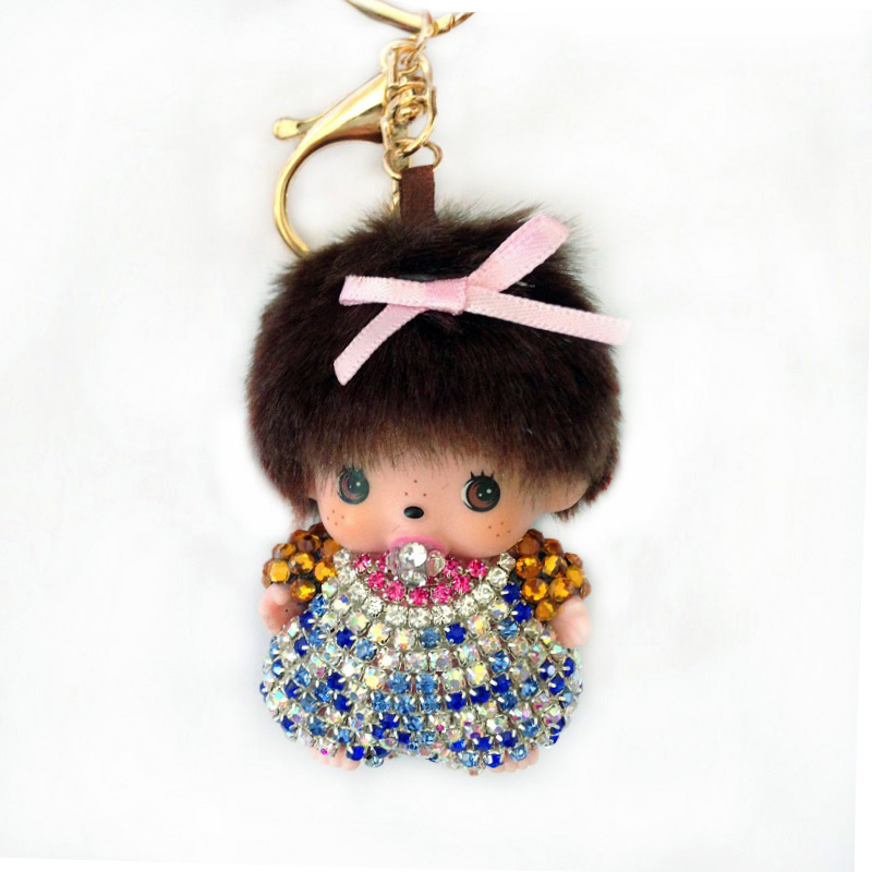 Handmade Cute Monchichi Keychains Car Pendant crystal Rhinestone Key Chain For Bag pendant car hanging Monchhichi