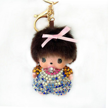 Handmade Cute Monchichi Keychains Car Pendant crystal Rhinestone Key Chain For Bag pendant car hanging Monchhichi Key Holder