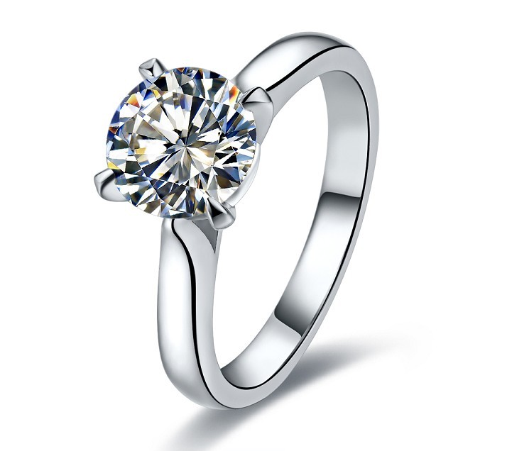 Wholesale 1CT Love Declarations Oxhead Synthetic Diamond Wedding Women Ring 925 Sterling Silver Platinum Plated Engagement Ring(China (Mainland))