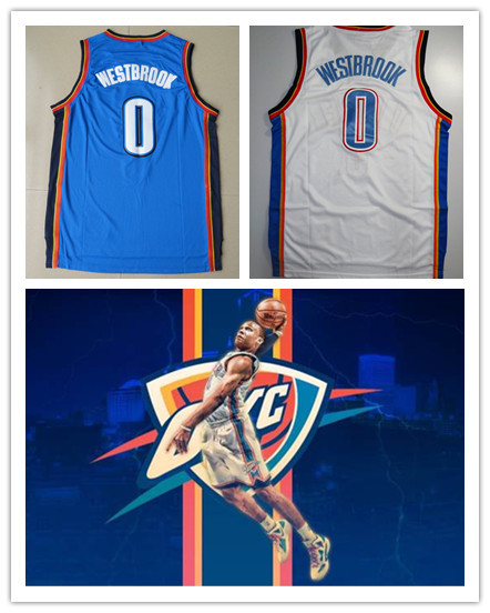 Youth Oklahoma Russell Westbrook Basketball Jerseys Kids White Blue High Quality Embroidery Logos Hot Sale Free Shipping(China (Mainland))