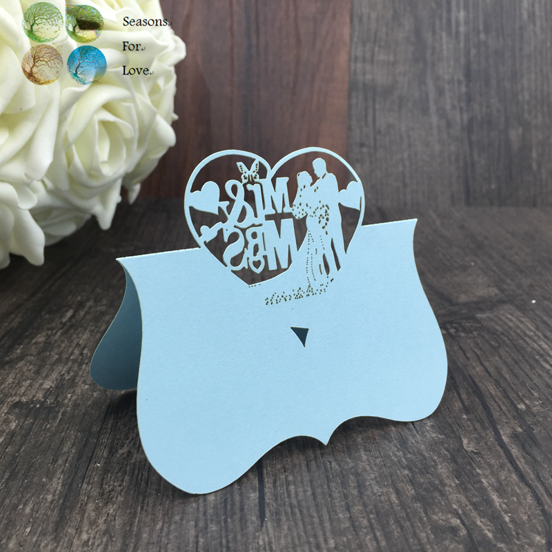Free shiping 40pcs love heart Mr Mrs cute Laser Cut Party Table Name Place Cards Favor