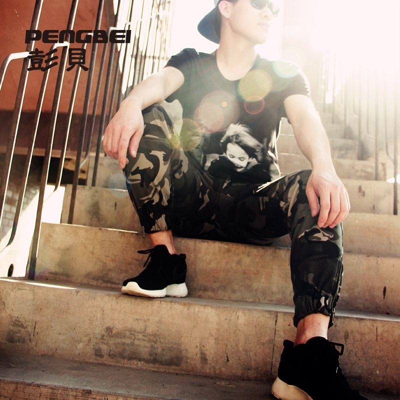Camouflage pants 2015 new fashion summer style sport military joggers hip hop baggy harem men pants swag jogging army sweatpants(China (Mainland))