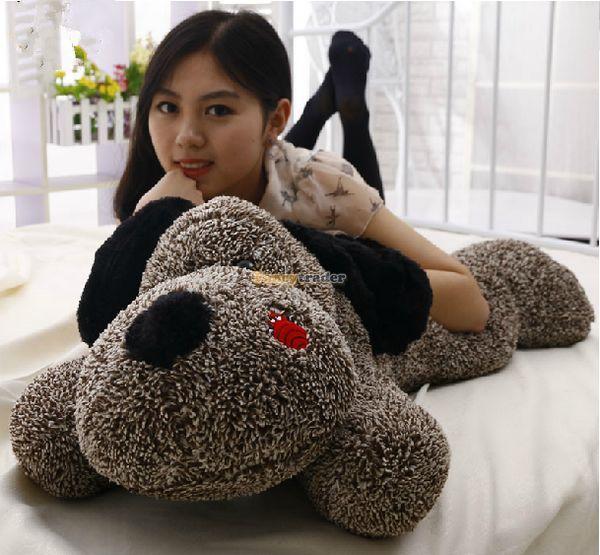 Fancytrader 39 / 100cm Cute Stuffed Soft Plush Giant Big Sleepy Lying Coffee Dog, Free Shipping FT50851<br><br>Aliexpress