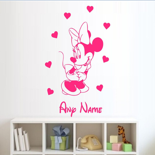 Free Shipping 3 Sizes Minnie Mouse Personalised Wall