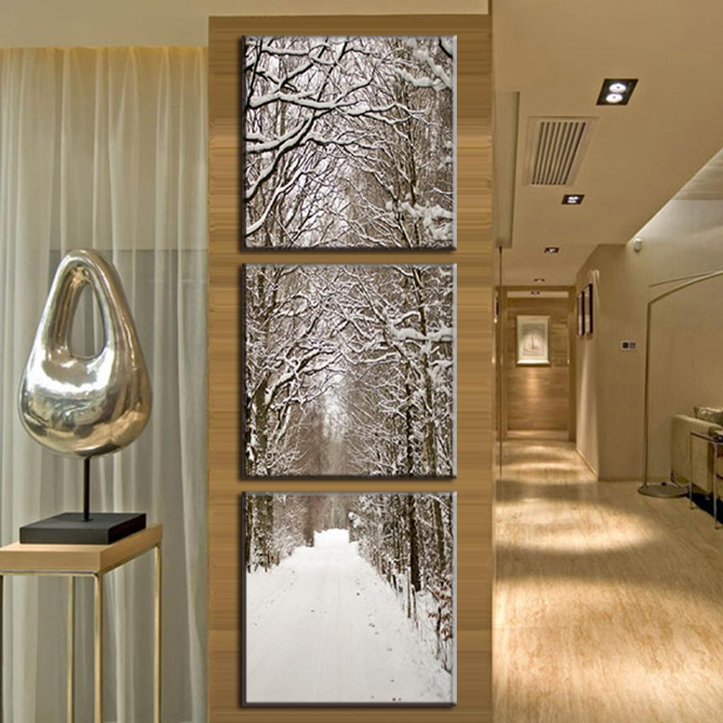 3 pcs set new arrival art on canvas snowy boulevard canvas for Vertical wall art