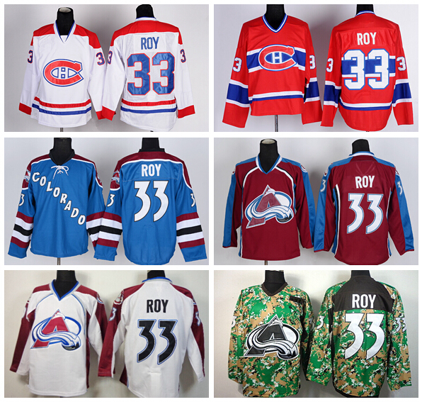 Throwback Montreal Canadiens 33 Patrick Roy Jersey Vintage CCM Colorado Avalanche Hockey Jerseys Red Blue White Camo