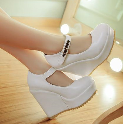 new 2015 fashion wedges shoes pu leather women pumps platform ladies casual dress shoes woman high heels(China (Mainland))