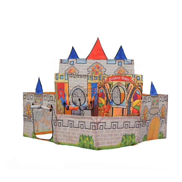 Free Shipping sunshine old castle kids playing tent outdoor playhouse toys foldable kid tent discovery kids pop up play tent(China (Mainland))
