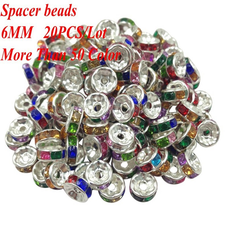 Crystal Spacer Metal Silver Plated Rondelle Beads 6MM(20PCS/LOT) Hot Sale Spacer Beads Rhinestone Loose Beads For Jewelry Making(China (Mainland))
