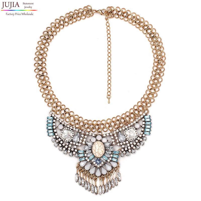 2016 NEW fashion necklace collar Necklaces & Pendants trendy crystal pendant bib chunky chain choker statement - JUJIA Official Store store