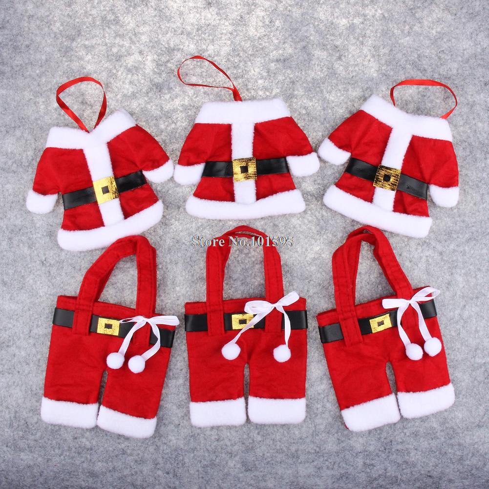 6PCS Merry Sweet Christmas Decoration Santa Silverware Holders Pockets Dinner Table Decor Storage Candy Diet Tools Christmas(China (Mainland))