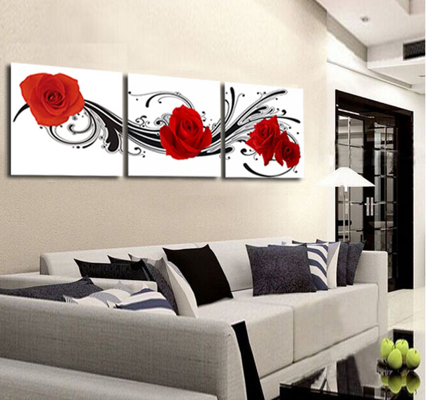 Modern Wall Art For Living Room #23: Flower Red Rose Painting 3 Panel Wall Art Canvas Wall Pictures For Living Room Modern Home