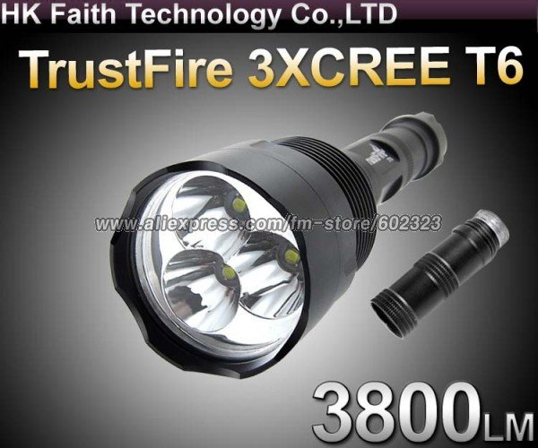 Гаджет  Free shipping, Super-High Power TrustFire CREE XM-L 3800-lumens 5-Mode 3*T6 LED lengthening Flashlight Torch Lamp None Свет и освещение